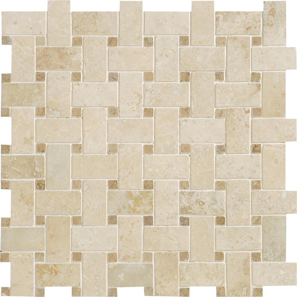 "MS00705 ivory & walnut dark honed & filled basket weave 1""x2"" 12""x12""x3/8"" sheets"