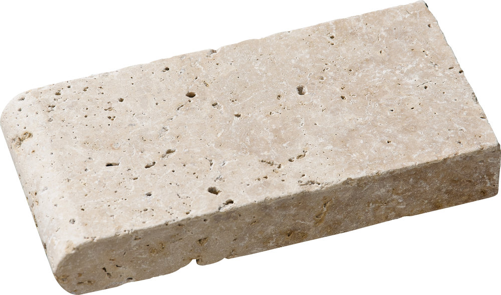 "SP00337 *(S.O.) ivory tumbled pool coping 4""x8""x1 3/8"""