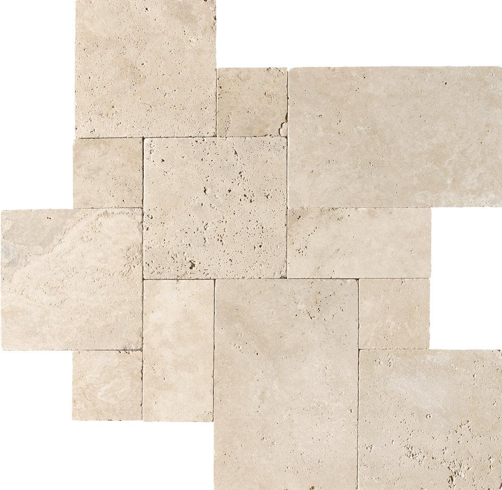 Ivory Tumbled Travertine Field Tile