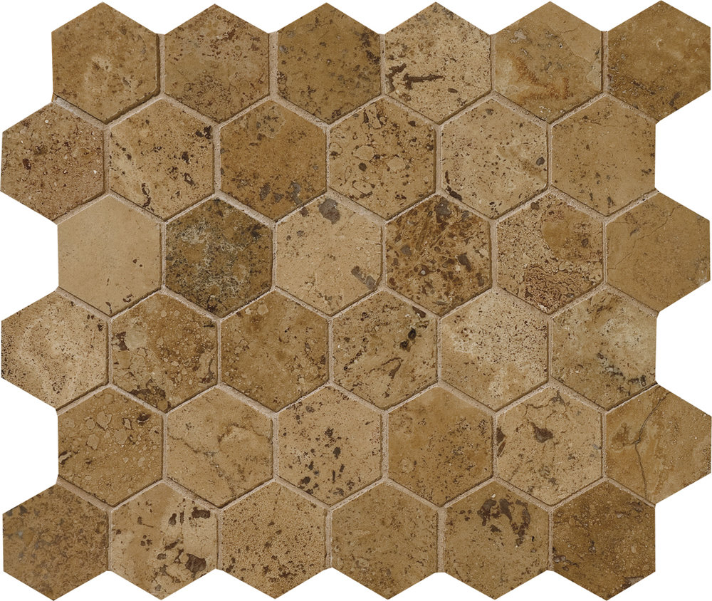 "MS00715 walnut dark honed & filled hexagon 2"" 10 3/8""x12x3/8"" sheets"