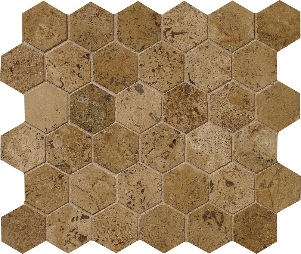 "MS00715 walnut dark honed & filled hexagon 2"" 10 3/8""x12x3/8"" sheets"