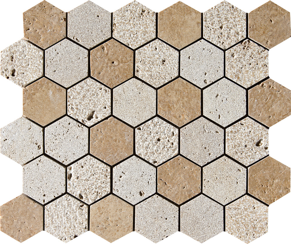 "MS01296 *(S.O.) walnut dark full hexagon textured mosaic 10 3/8""x12""x3/8"" sheets"