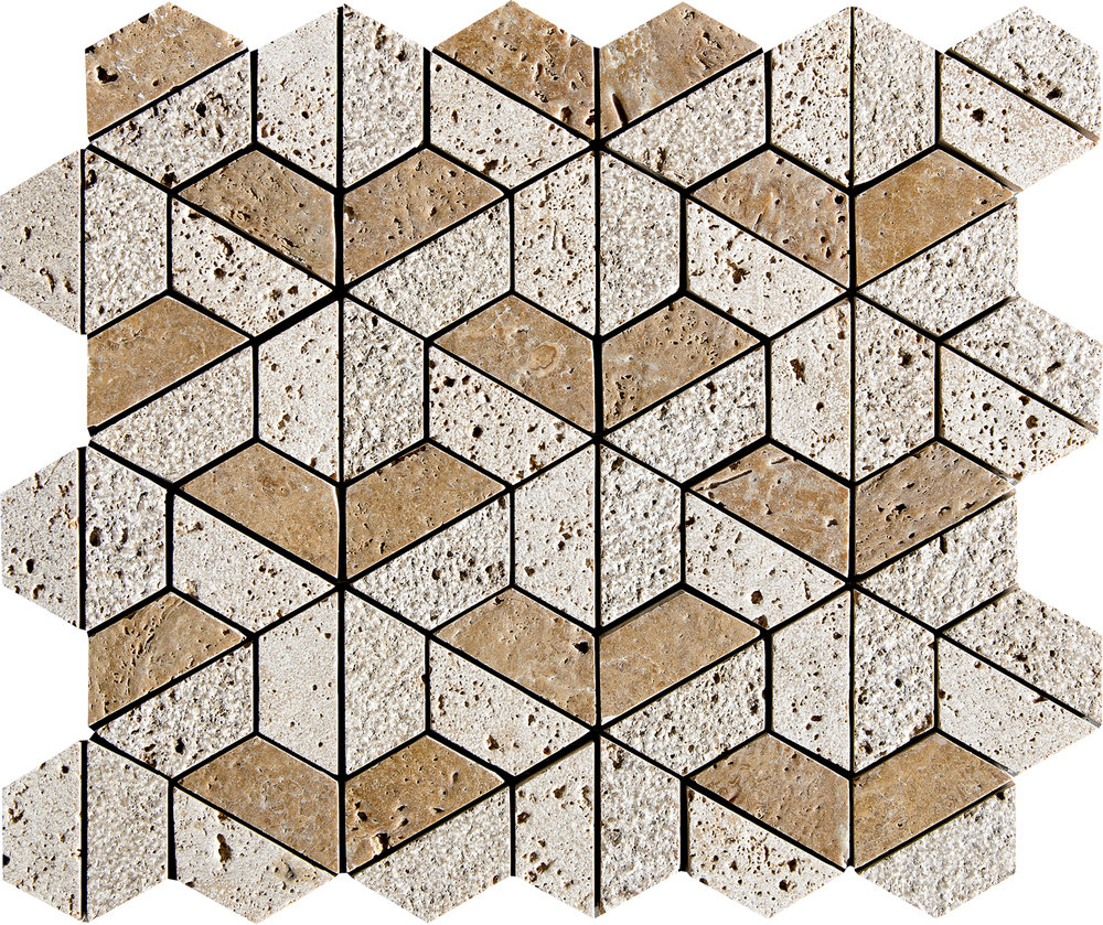 "MS01275 *(S.O.) walnut dark 3d hexagon textured mosaic 10 3/8""x12""x3/8"" sheets"
