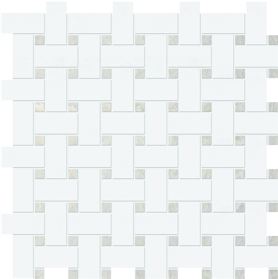 "MS90042 thassos white & ming green polished basket weave 1""x2"" 12""x12""x3/8"" sheets"