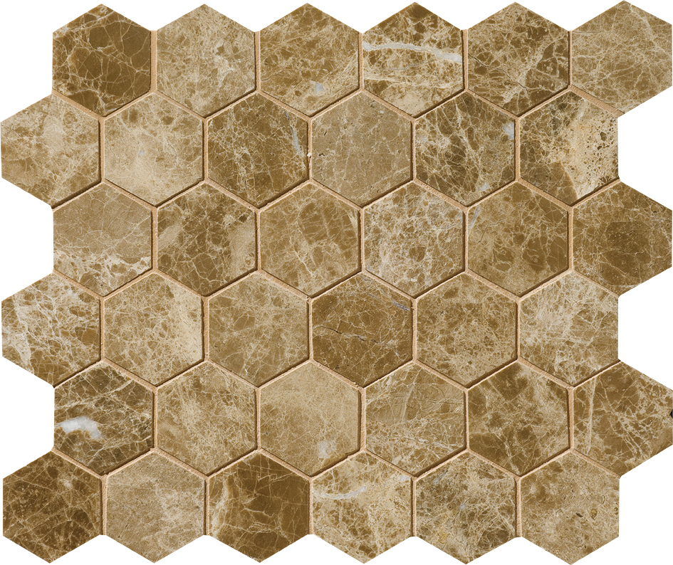 "MS00774 paradise polished hexagon 2"" 10 3/8""x12x3/8"" sheets"