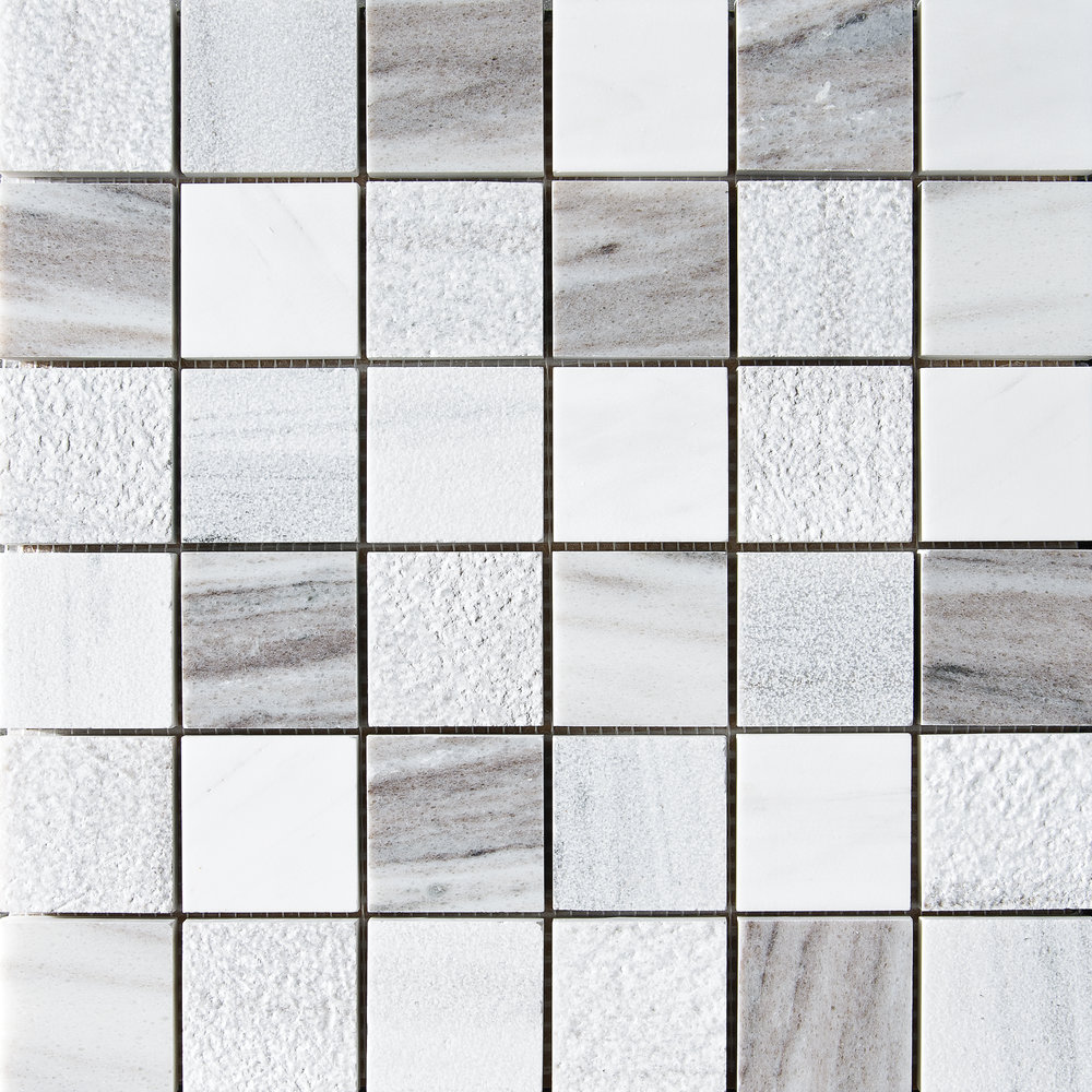 "MS01308 skyline&avenza&snow white 2""x2"" textured mosaic 12""x12""x3/8"" sheets"