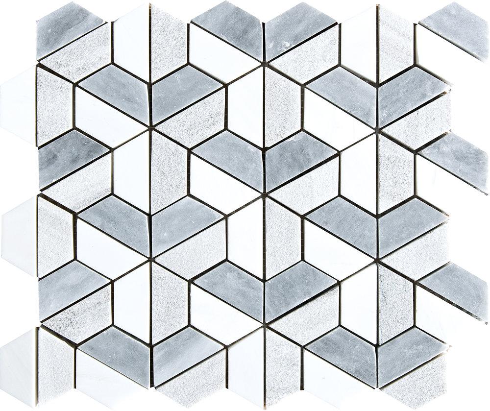 """MS01263 allure & snow white & skyline 3d hexagon textured 3/8"""" mosaic 10 3/8""""x12""""x3/8"""""""