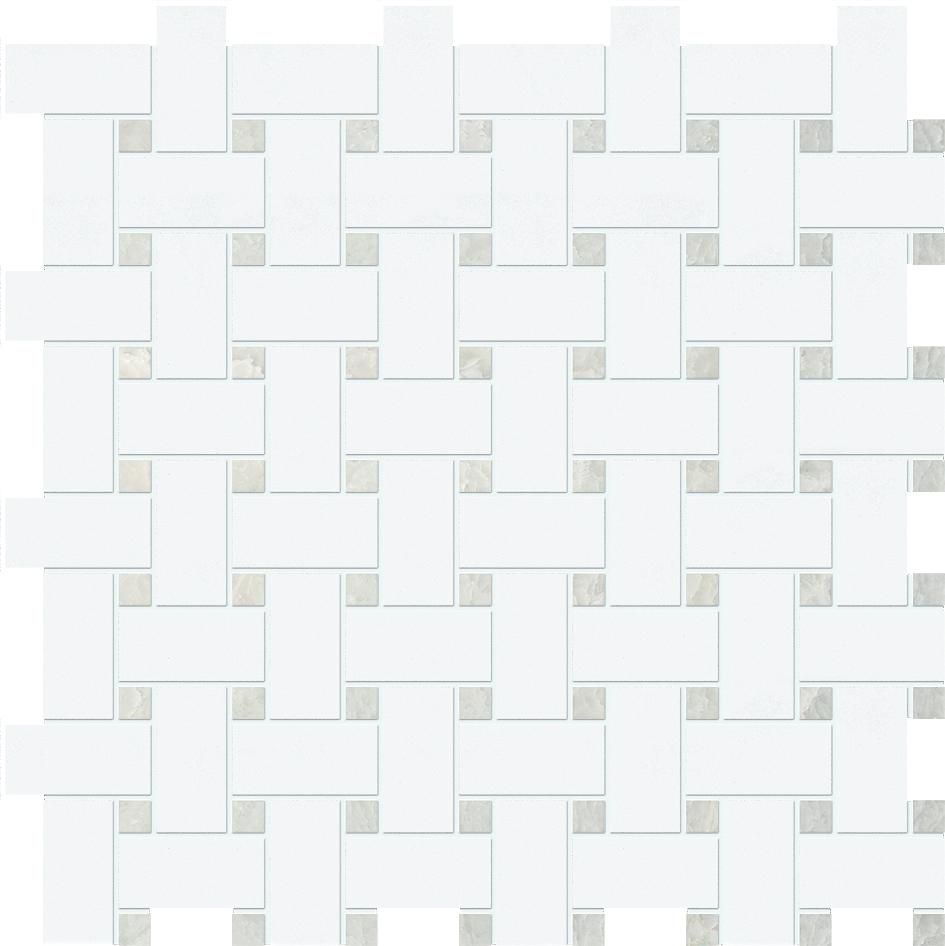 "MS90042 thassos white & ming green polished basket weave 1""x2"" 12""x12""x3/8"" sheets"