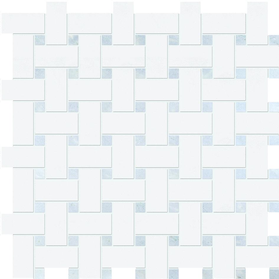 "MS90100 thassos white & blue celeste polished basket weave 1""x2"" 12""x12""x3/8"" sheets"