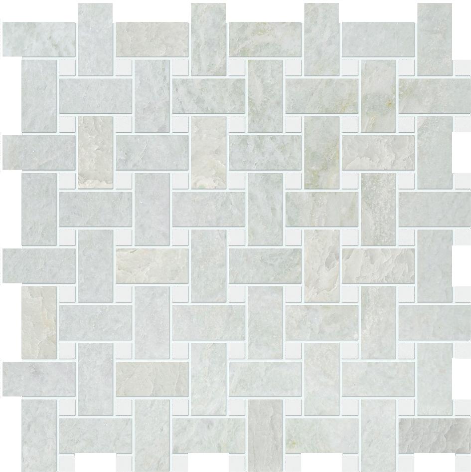 "MS90043 ming green & thassos white polished basket weave 1""x2"" 12""x12""x3/8"" sheets"