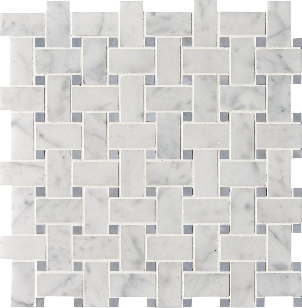 "MS90095 white carrara polished basket weave 1""x2"" 12""x12""x3/8"" sheets"