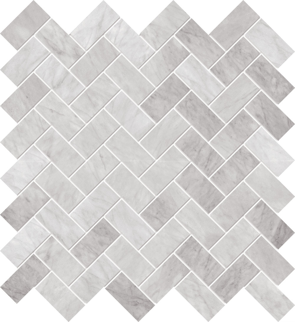 """MS99026 white carrara polished herringbone mosaic 1""""x2"""" 12""""x12""""x3/8"""" sheets"""