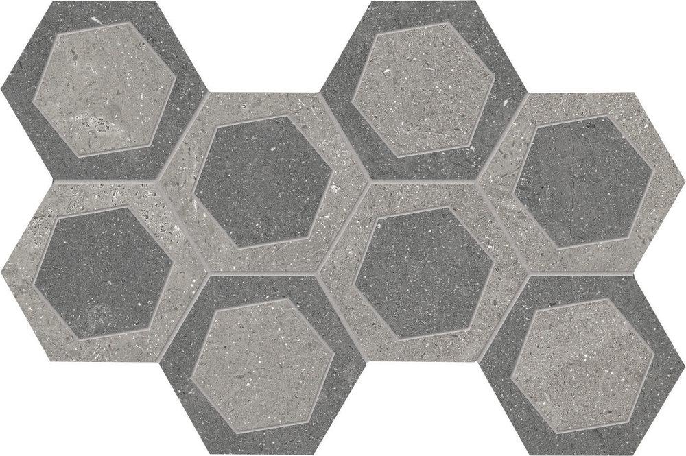 """8"""" x 14"""" Mosaic Esagona Bicolor - Grey/Dark Grey"""