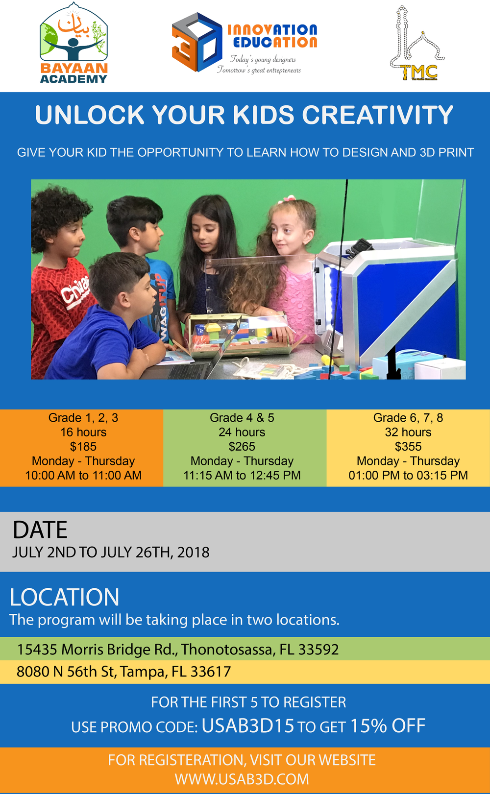 Let your kids explore their creativity while learning how to design 3D print! - For registration click HERE