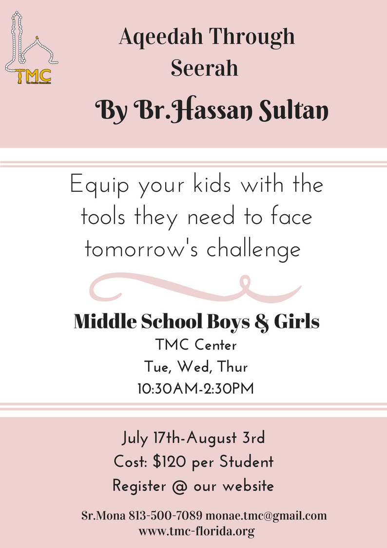We teach our kids the ritual acts ofworship, but theyare not actually connected with the true Aqeedah to help them understand why they need to worship Allah! - For Registration click HERE