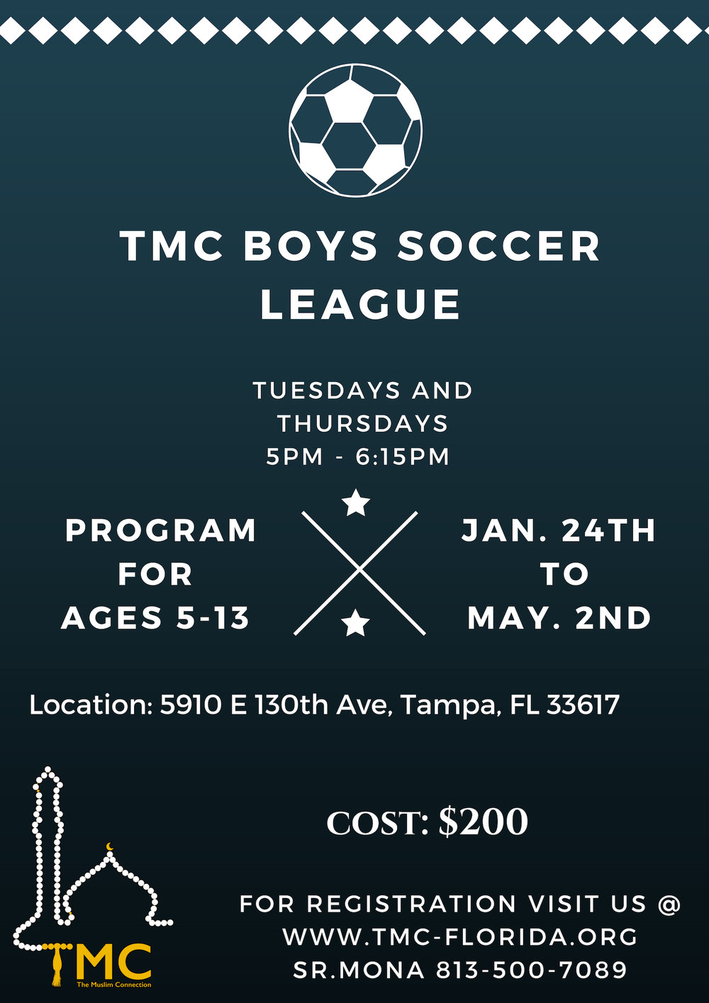BOYS SOCCER LEAGUE - Ages 5 to 13Jan 24th-May 2ndFor registration click HERE