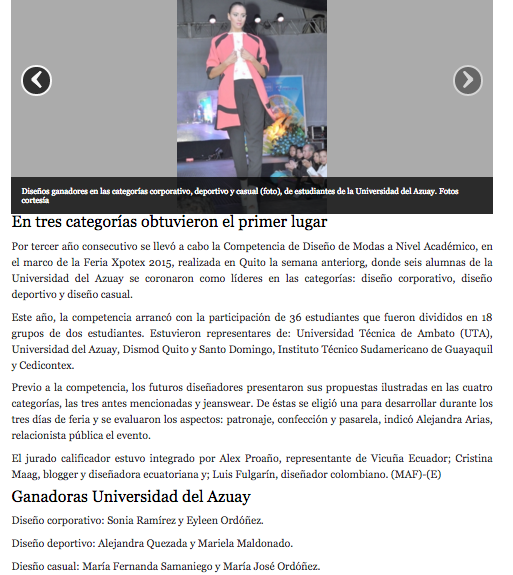 Designers succeed at National Contest EXPOTEX  El Mercurio, March 2015