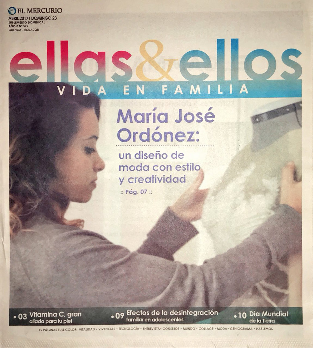 Maria Jose Ordonez: Design with style and creativity  Ellas y Ellos, April 2017