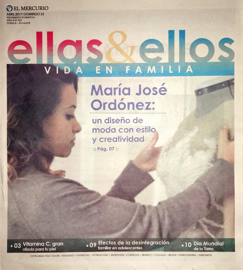 Maria Jose Ordonez: Design with style and creativity  Ellas y Ellos, April 2017
