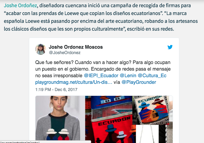 In Ecuador are collected signatures to denounce the plagiarism of the Otavalo embroidery  Nueva Mujer, 2017