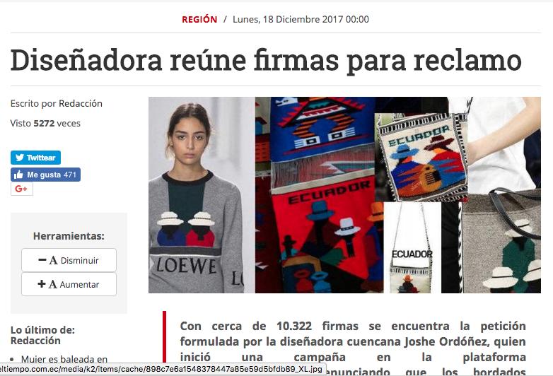 Designer gathers signatures to claim  El Tiempo, 2017