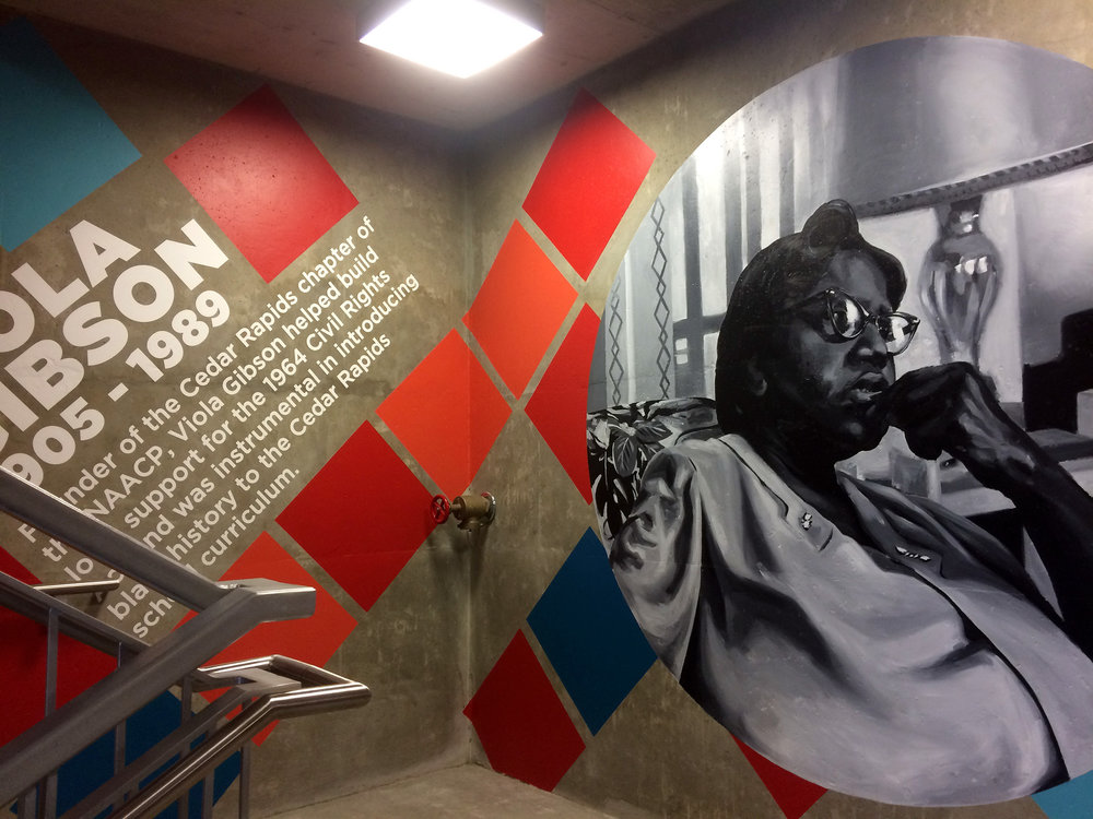 Commission for Park CR and Murals and More in Cedar Rapids, Iowa. Mural wraps the full interior of a 6 story stairwell. Completed over the course of 2 months in June and July of 2017. The mural features portraits of under-celebrated (and one more celebrated) figure from Cedar Rapids history.
