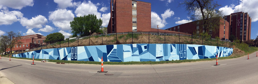 Marvin Cone inspired mural, part of a student mural mentorship at Coe College in Cedar Rapids, Iowa. Approx 225' x 8' completed over 3 days.