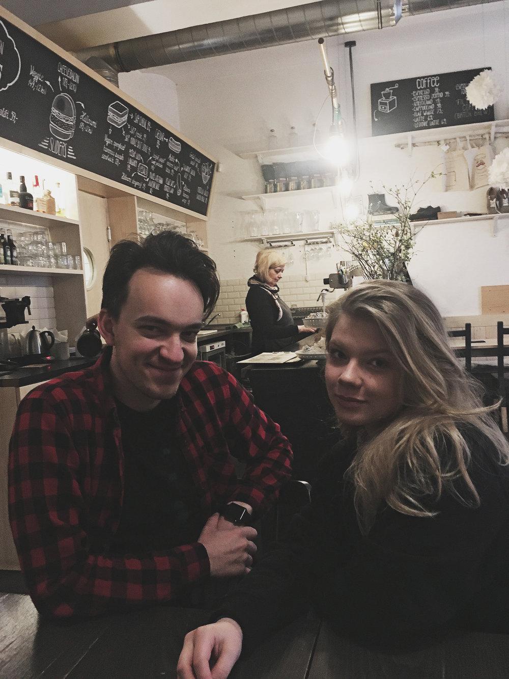 Matěj and my friend Karolina on a Sunday brunch