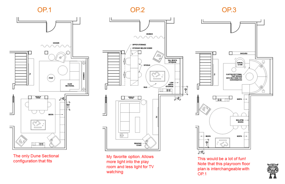 Floor plan options for a basement by AJID