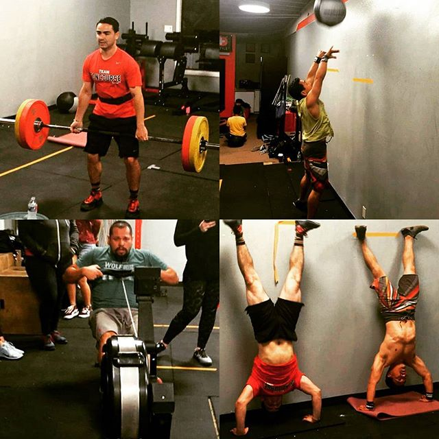 Concourse coaches showing us how it's done!  #17point4 #teamconcoursecrossfit #crossfitopen #deadlifts #wallballs #row #hspu