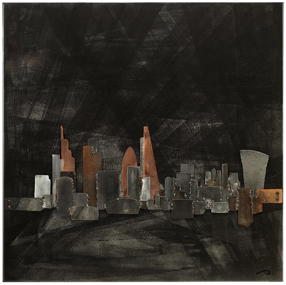 London 60 - Artiste: Thierry HoyauDimensions : 30 x 30 in.Médium :Mixte média