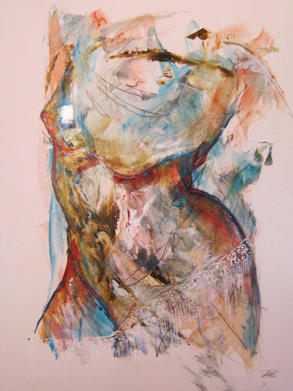Séductrice - Artiste :LORDimensions : 17.5 x 25.5 in.Médium :Mixte sur papier Terraskin