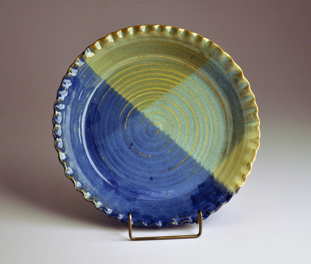blue green crimped pie plate