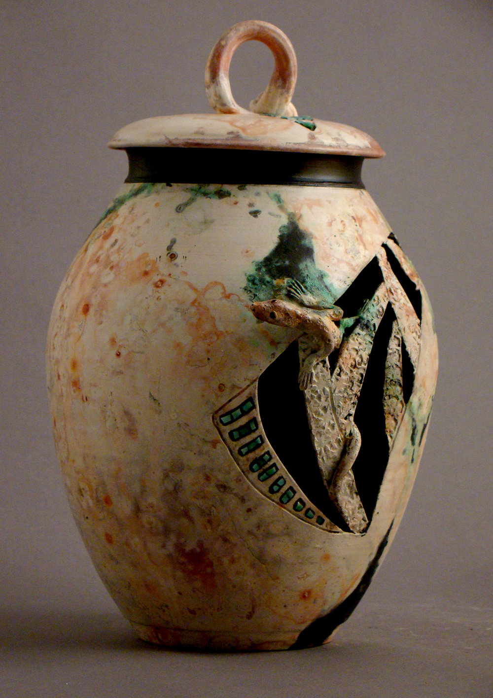 SaggarLizard Jar with mosaic and green flashing
