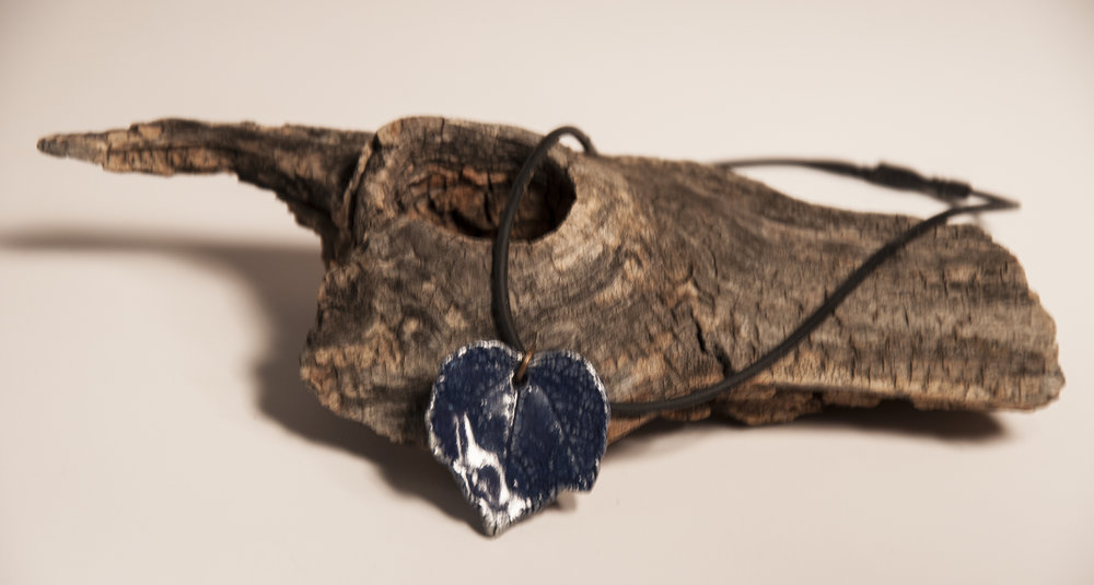 blue glazed leaf necklace
