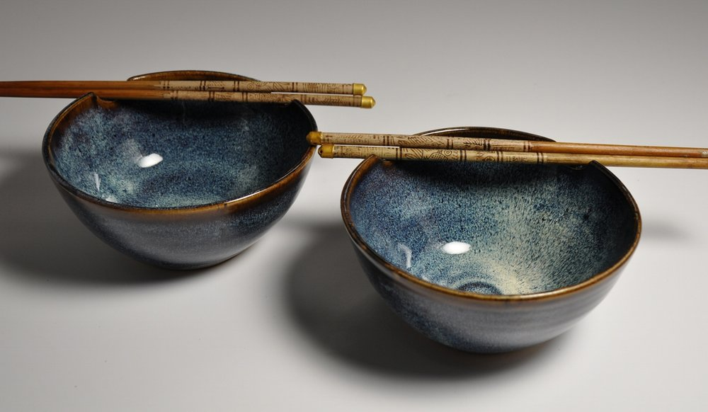 blue rice bowl set