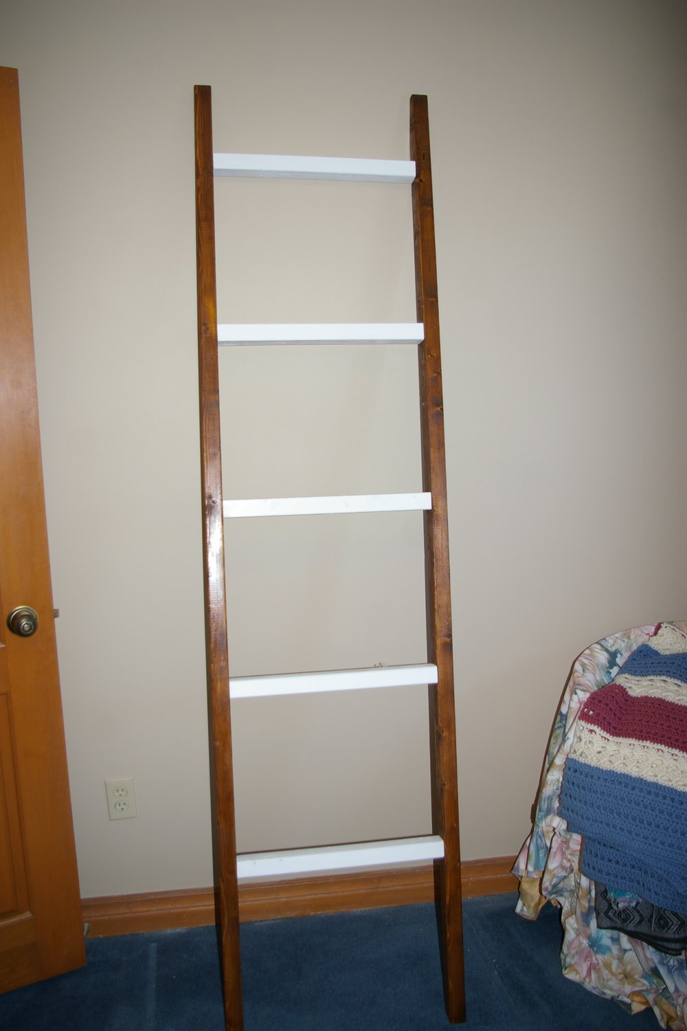 Blanket Ladder $60 - #500 PINE LADDER STAIN AND PAINT, 5 RUNGS