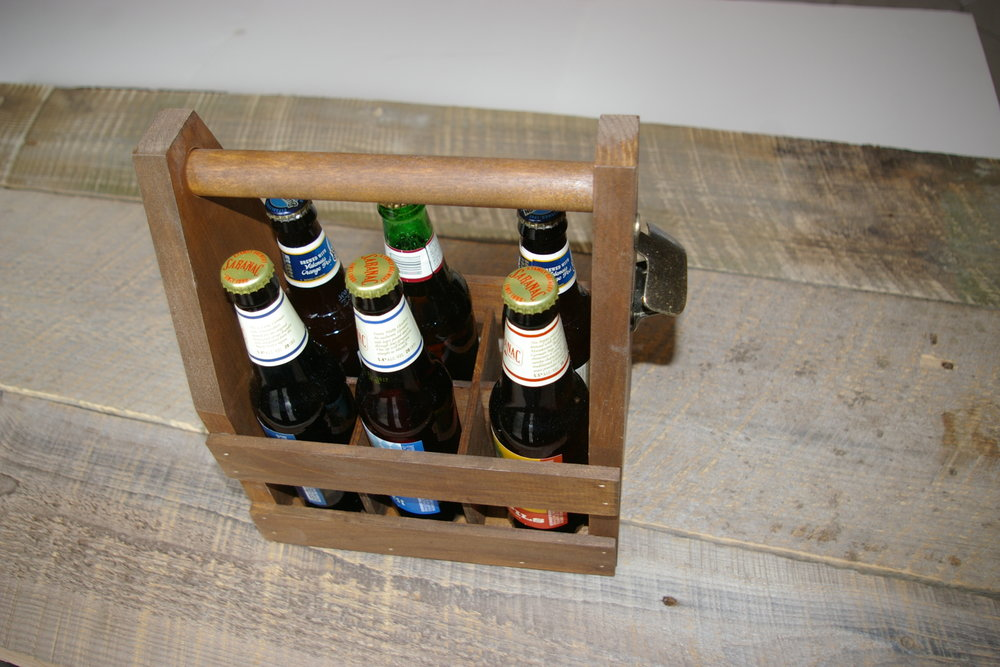 Bottle Caddy 6pk$25 each - #508 Pine wood 6 pack caddy with bottle dividers and bottle openersize 10