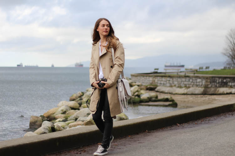 Walking on the sea wall in Vancouver with my camera and my trench coat.