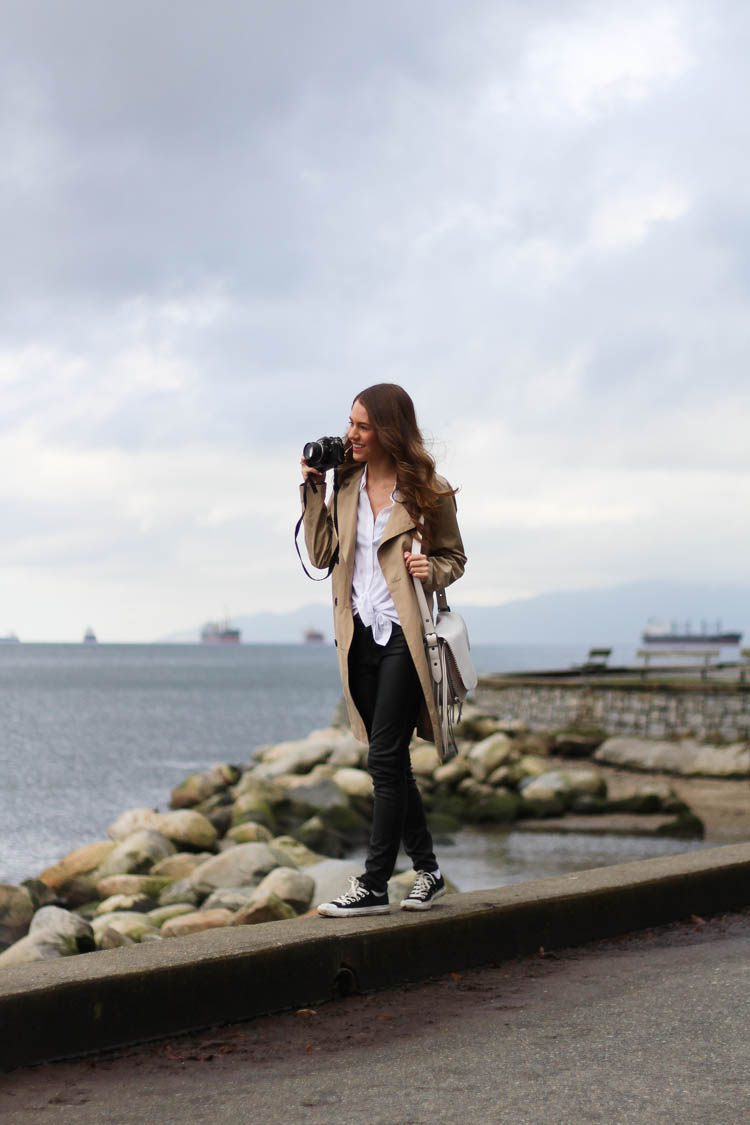 In English Bay, Vancouver taking pictures in my Trench Coat