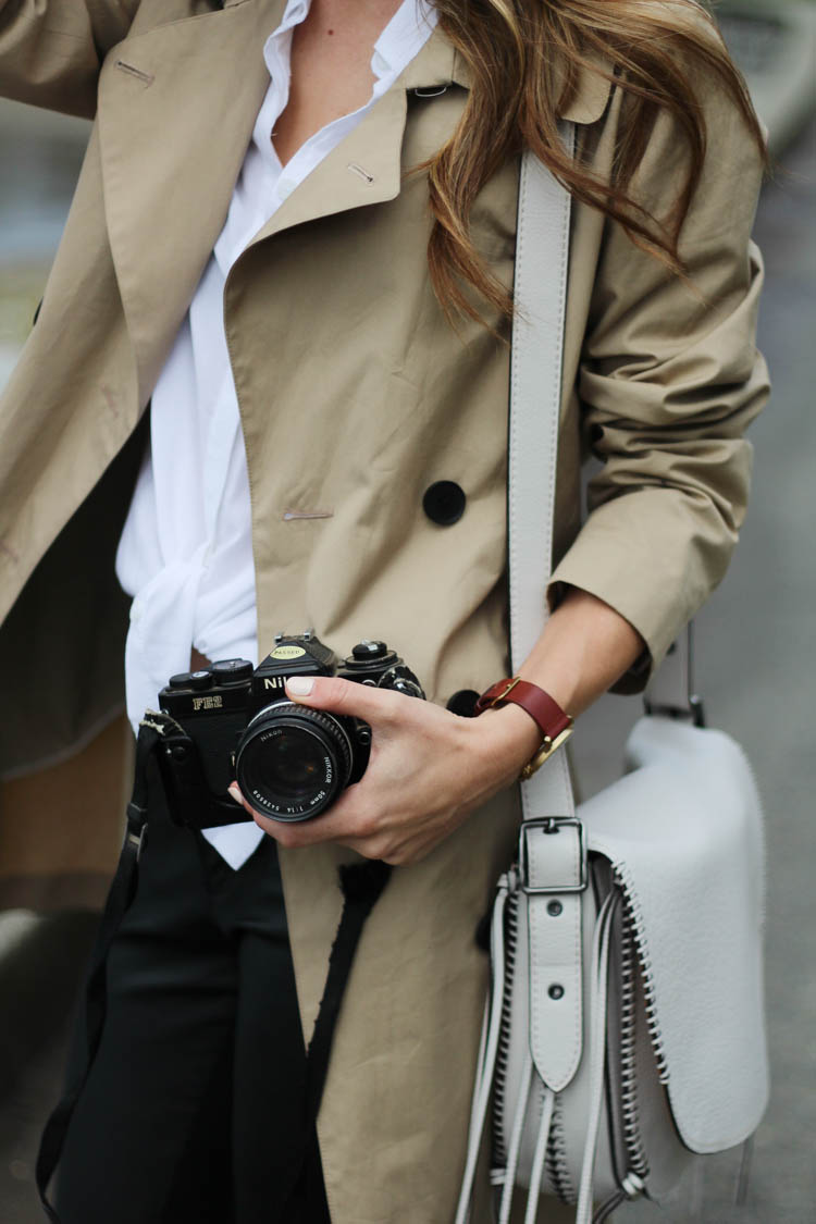 Holding my vintage Nikon camera with my trench coat and coach bag