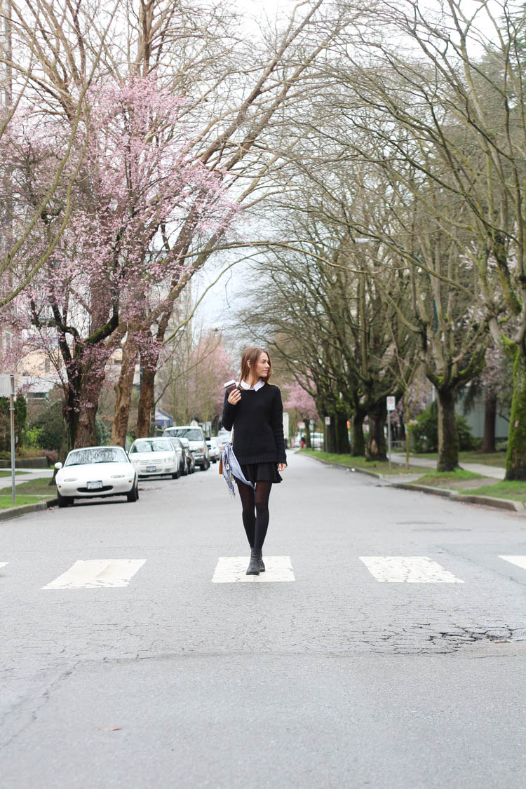 Wearing Bench Canada and Coach with a pop of Cherry Blossoms in Vancouver