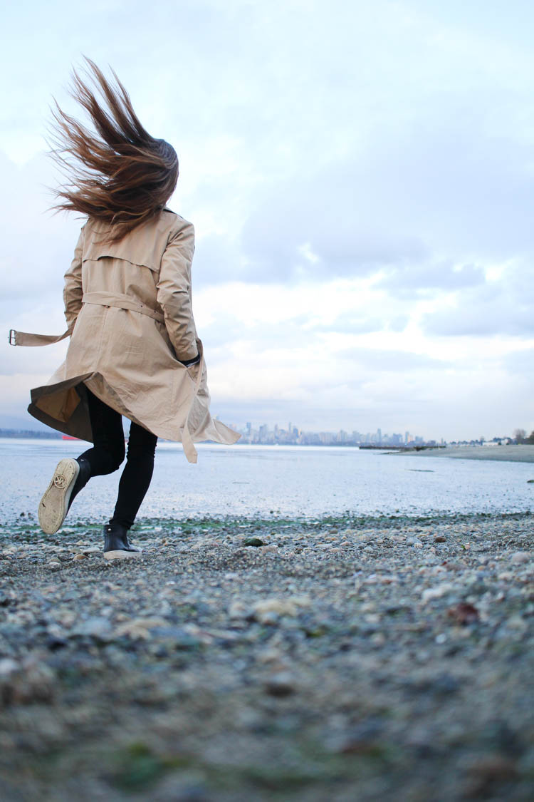 My hair flowing at Spanish Banks, Vancouver