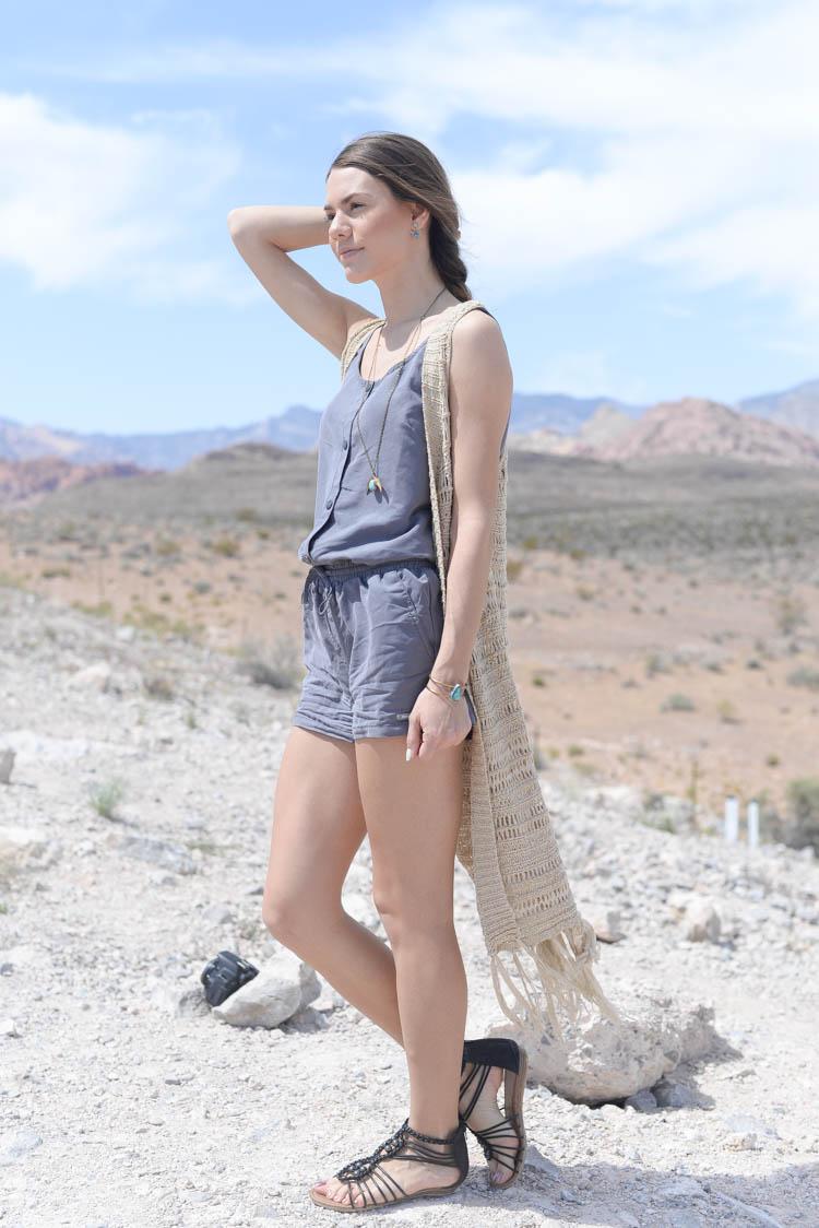 Wearing a romper in the desert near Red Rock Canyon, Las Vegas