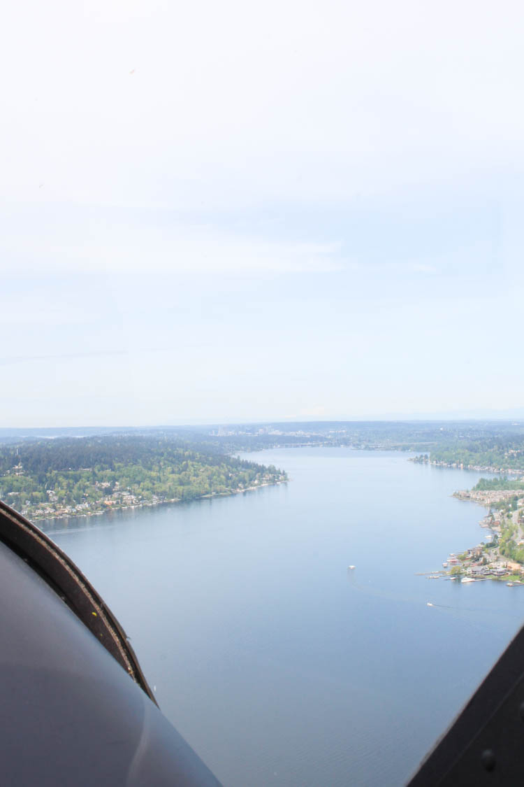 Flying in a Cessna 162 over Seattle