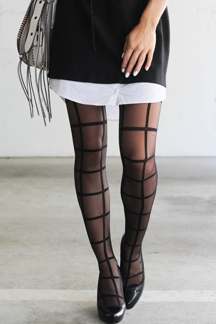 Black and white outfit with stockings by Mondor