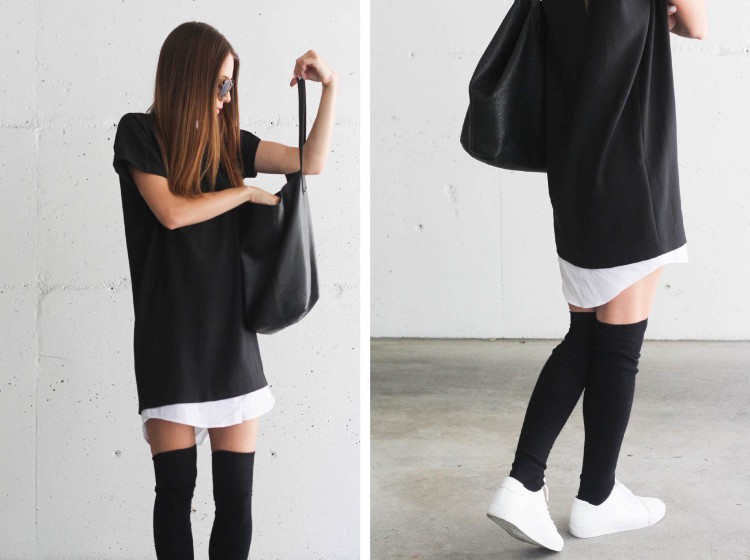 Knee high socks by Mondor for an office fashion look