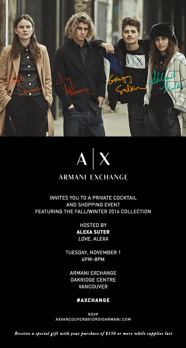 armani exchange invite oakridge centre