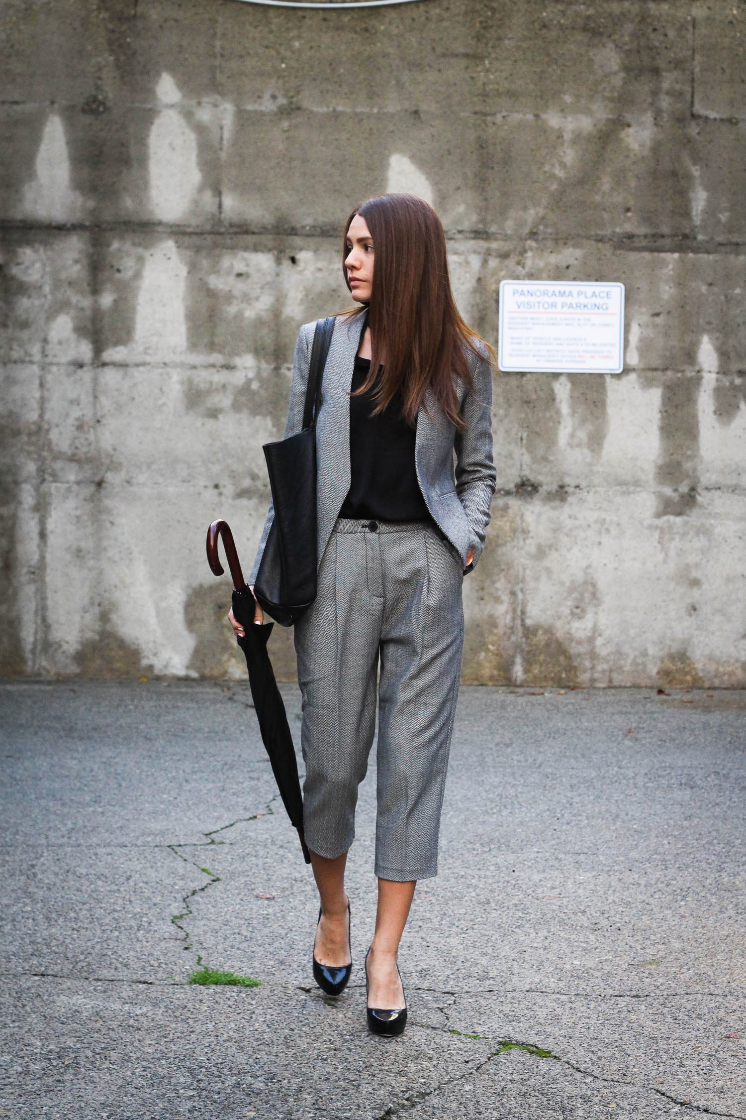 Wearing a women's suit by armani exchange