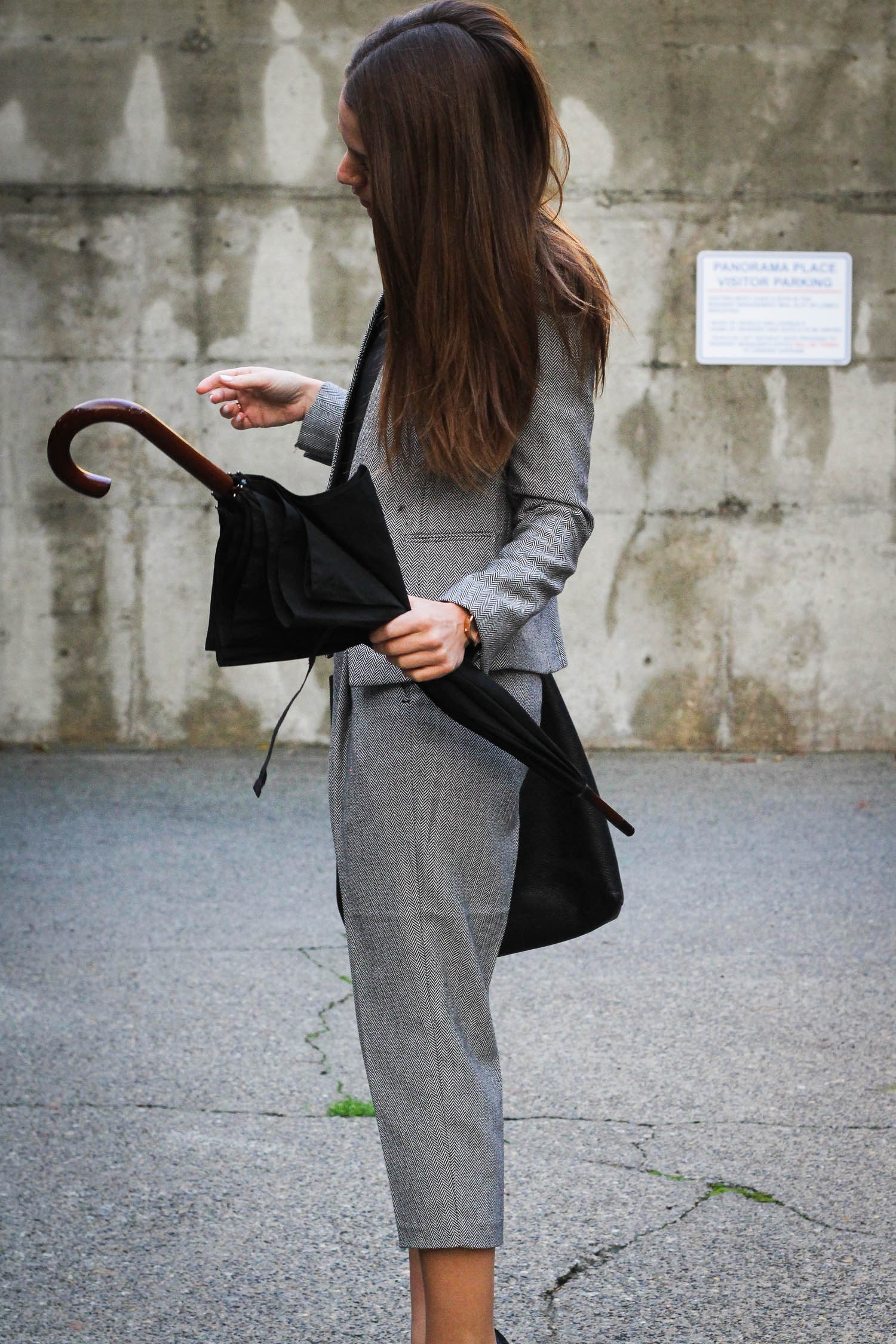 Wearing a grey armani exchange suit